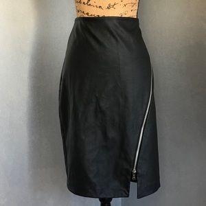 EXPRESS Faux Leather Skirt w/ Asymmetric Zipper